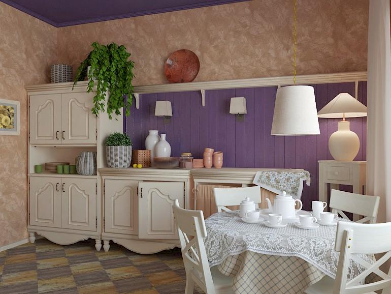 Живые цветы на кухне в стиле прованс