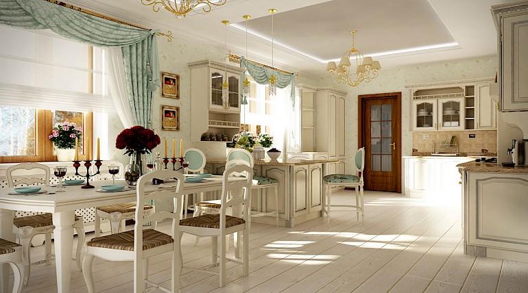 Кухня в стиле прованс, совмещенная с гостиной