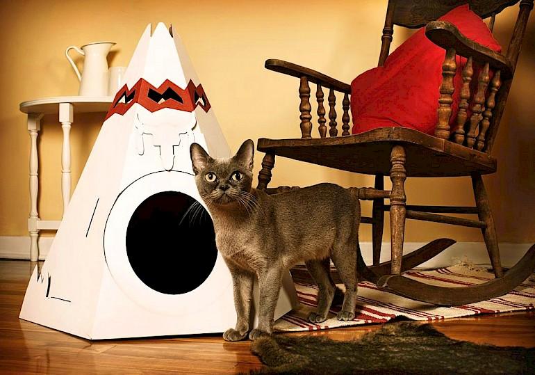 Вигвам для кошки из картона