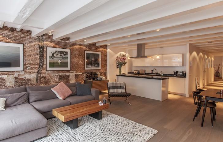 гостиная в стиле лофт в квартире фото интерьеров маленькие и