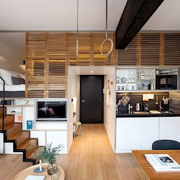 Разделение квартиры на функциональные зоны с помощью мебели