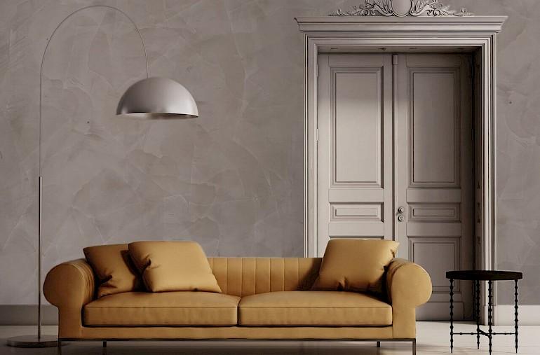 Венецианская штукатурка в интерьере гостиной