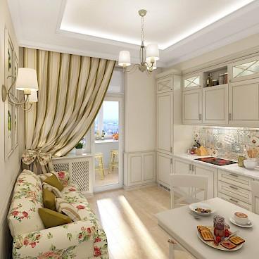 Кухня совмещенная с балконом увеличивает пространство