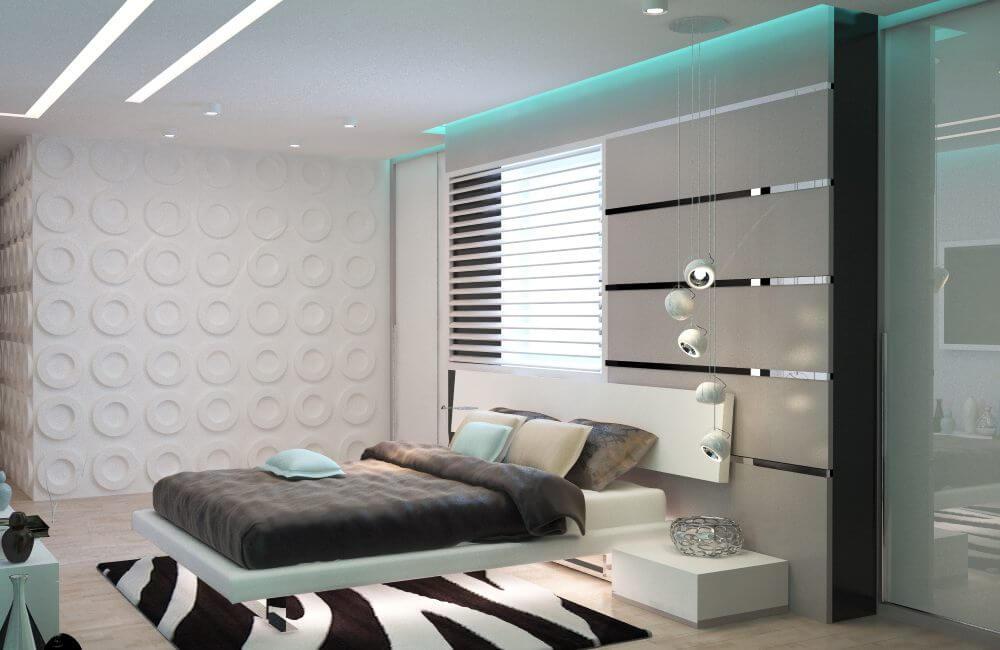 фото простой спальни в стиле хай тек элементов треугольника