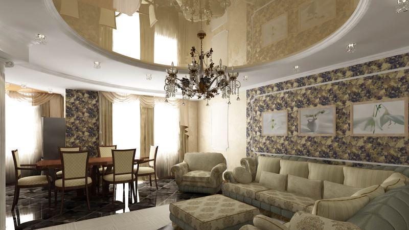 потолок в гостинной классического стиля