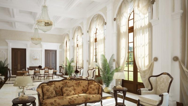 окна и двери в классической гостиной
