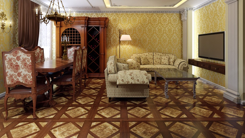 пол в гостиной классического стиля