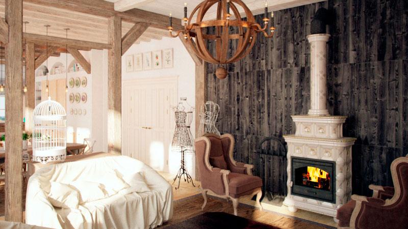 гостиная с камином в стиле прованс
