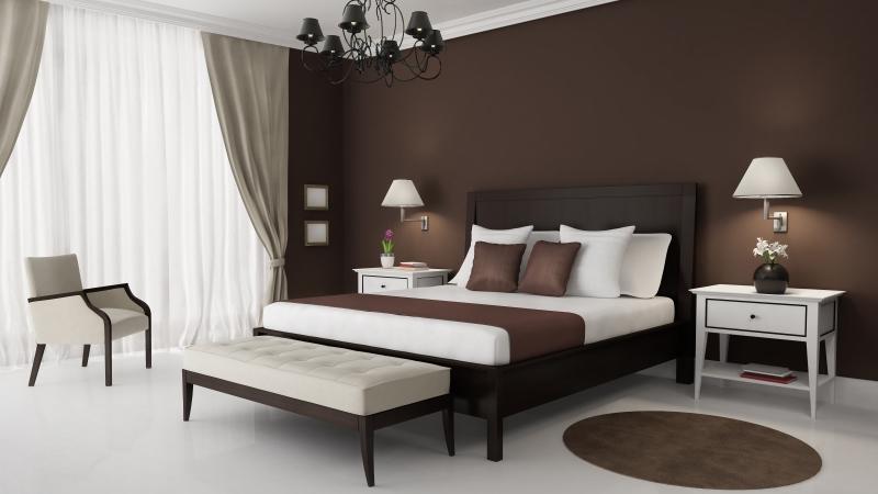 коричневые обои для спальни