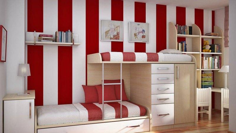 красно-белые обои для спальни