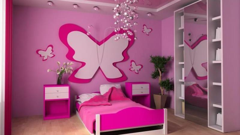 розовые обои для спальни