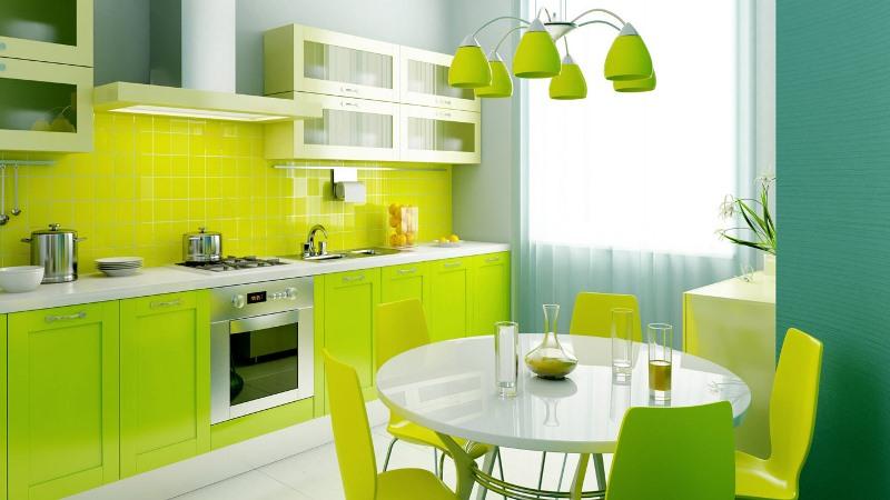 зеленые обои в кухне