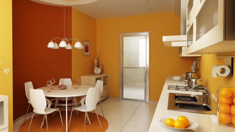 желтые обои в кухне
