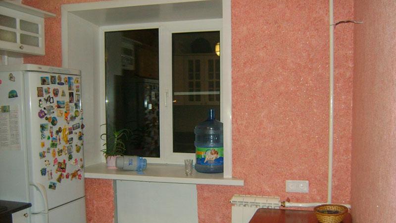 фотография жидких обоев на кухне