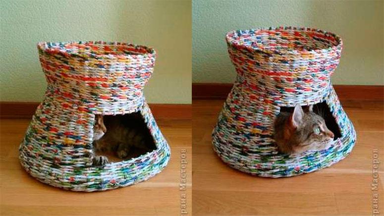 домик из газетных трубочек готов
