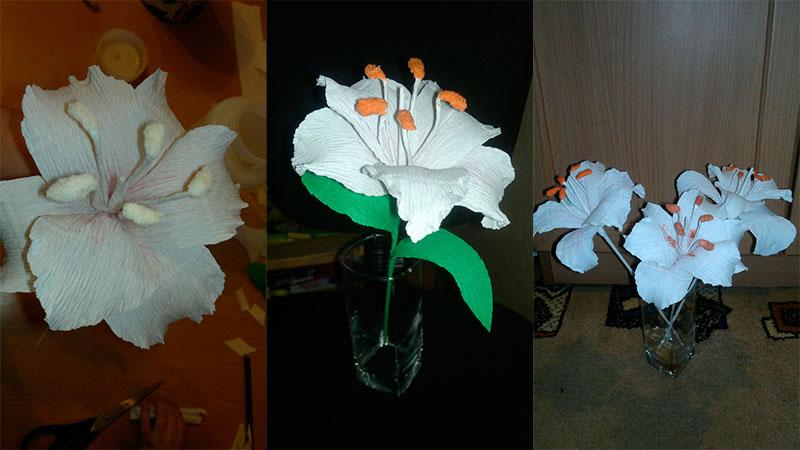 лилия из гофрированной бумаги готова