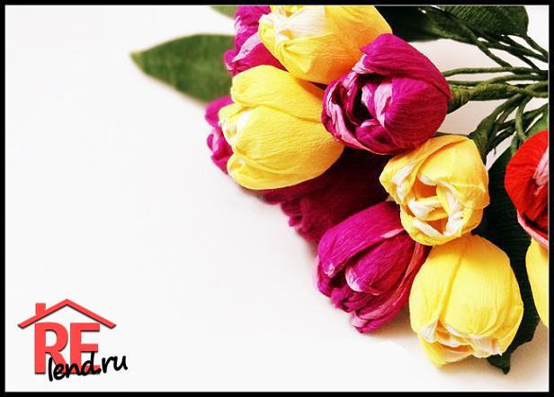 тюльпаны из гофрированной бумаги своими руками