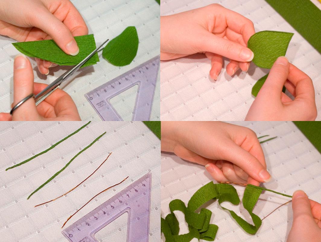вырезаем листья для подсолнуха