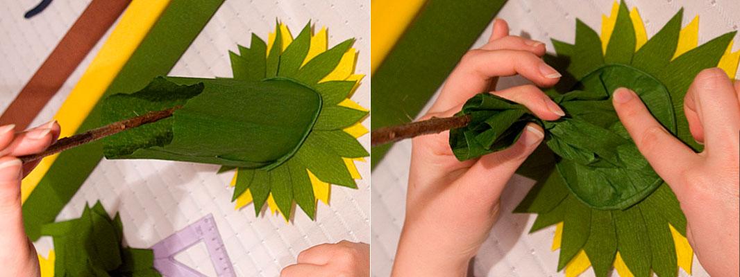 закрываем стебель зеленой бумагой