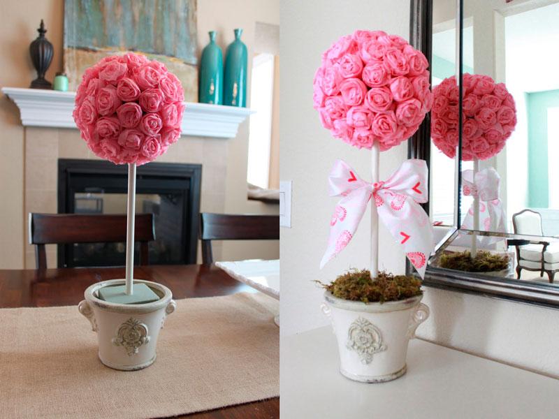 готовый топиарий с розами из гофробумаги
