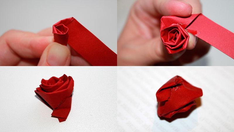 получился бутон розы из бумаги