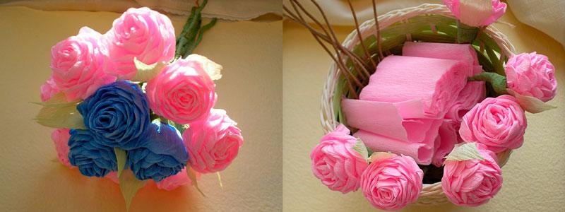 роза из креповой бумаги готова