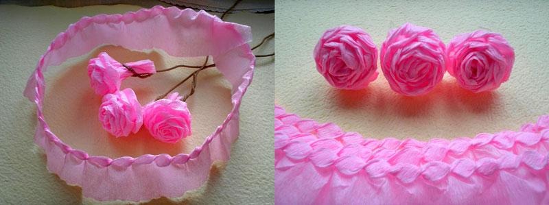 скручиваем бутон розы